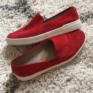 EUC Via Spiga Perforated Suede Slip On Shoes